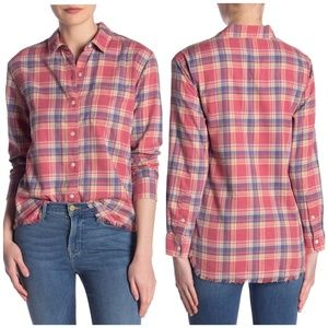 Frame | Raw Hem Plaid button down shirt